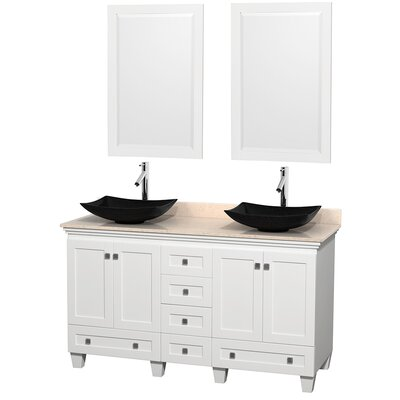 Acclaim 60 Double White Bathroom Vanity Set with Mirror Top Finish: Ivory Marble, Sink Finish: Arista Black Granite
