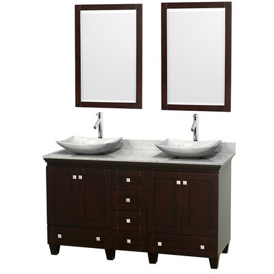 Acclaim 60 Double Espresso Bathroom Vanity Set with Mirror Top Finish: White Carrera Marble, Sink Finish: Arista White Carrera Marble