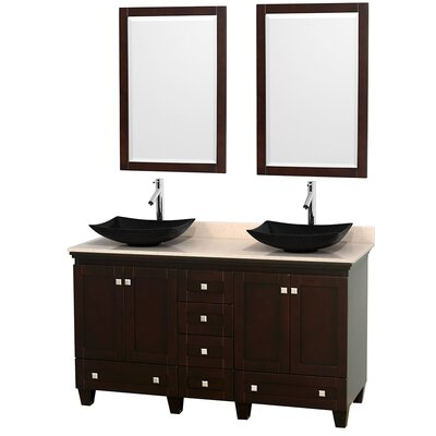 Acclaim 60 Double Espresso Bathroom Vanity Set with Mirror Top Finish: Ivory Marble, Sink Finish: Arista Black Granite