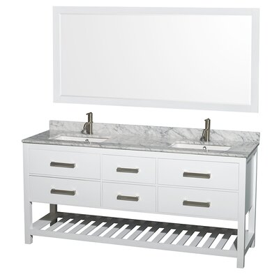 Natalie 72 Double White Bathroom Vanity Set with Mirror Top Finish: White Carrera Marble, Faucet Mount: 8 Centers