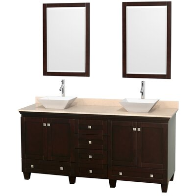 Acclaim 72 Double Espresso Bathroom Vanity Set with Mirror Sink Finish: White Porcelain, Top Finish: Ivory Marble