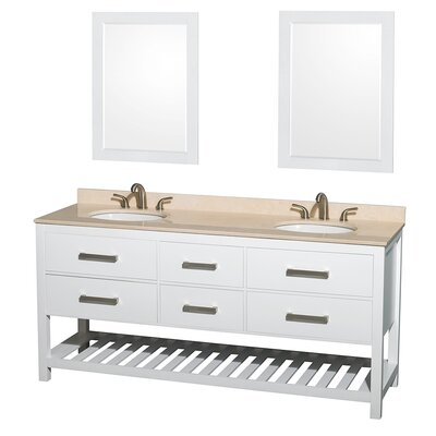 Natalie 72 Double White Bathroom Vanity Set with Mirror Top Finish: Ivory Marble, Faucet Mount: 8 Centers