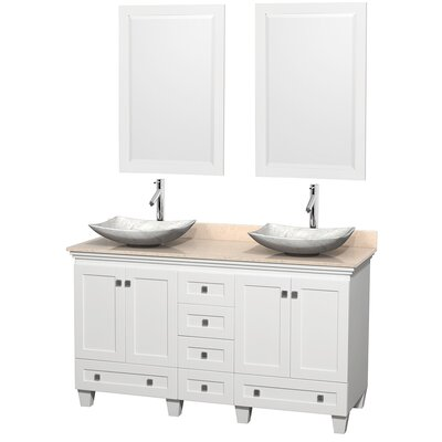 Acclaim 60 Double White Bathroom Vanity Set with Mirror Top Finish: Ivory Marble, Sink Finish: Arista White Carrera Marble