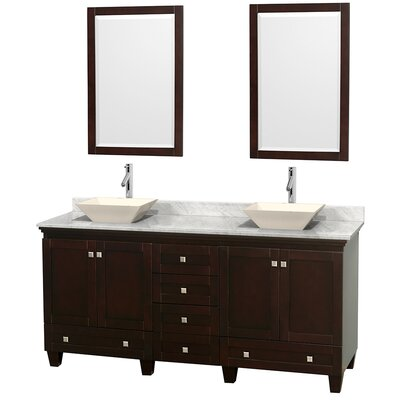 Acclaim 72 Double Espresso Bathroom Vanity Set with Mirror Top Finish: White Carrera Marble, Sink Finish: Bone Porcelain