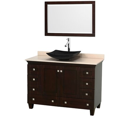 Acclaim 48 Single Espresso Bathroom Vanity Set with Mirror Top Finish: Ivory Marble, Sink Finish: Arista Black Granite