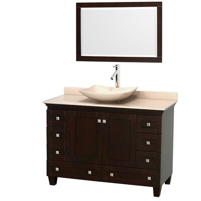 Acclaim 48 Single Espresso Bathroom Vanity Set with Mirror Top Finish: Ivory Marble, Sink Finish: Arista Ivory Marble