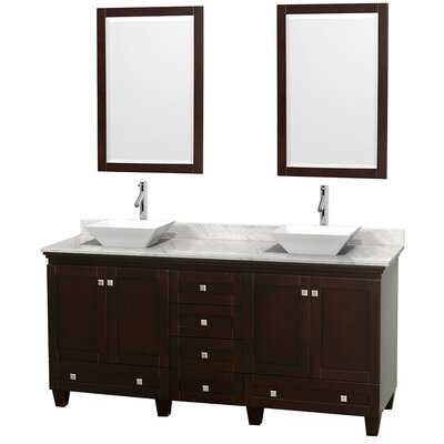 Acclaim 72 Double Espresso Bathroom Vanity Set with Mirror Top Finish: White Carrera Marble, Sink Finish: White Porcelain