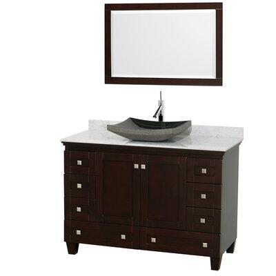 Acclaim 48 Single Espresso Bathroom Vanity Set with Mirror Top Finish: White Carrera Marble, Sink Finish: Altair Black Granite