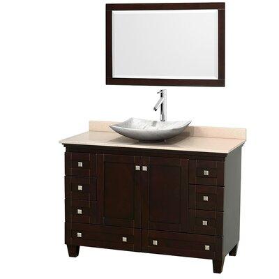 Acclaim 48 Single Espresso Bathroom Vanity Set with Mirror Top Finish: Ivory Marble, Sink Finish: Arista White Carrera Marble