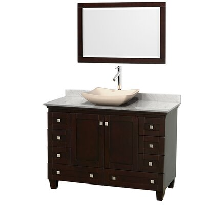 Acclaim 48 Single Espresso Bathroom Vanity Set with Mirror Top Finish: White Carrera Marble, Sink Finish: Avalon Ivory Marble