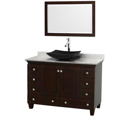 Acclaim 48 Single Espresso Bathroom Vanity Set with Mirror Top Finish: White Carrera Marble, Sink Finish: Arista Black Granite
