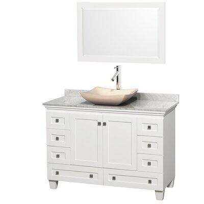 Acclaim 48 Single White Bathroom Vanity Set with Mirror Top Finish: White Carrera Marble, Sink Finish: Avalon Ivory Marble