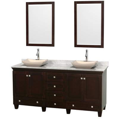 Acclaim 72 Double Espresso Bathroom Vanity Set with Mirror Top Finish: White Carrera Marble, Sink Finish: Avalon Ivory Marble