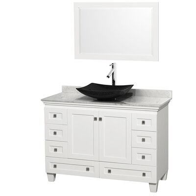 Acclaim 48 Single White Bathroom Vanity Set with Mirror Top Finish: White Carrera Marble, Sink Finish: Arista Black Granite