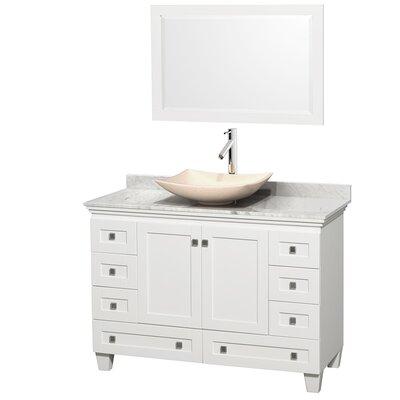 Acclaim 48 Single White Bathroom Vanity Set with Mirror Top Finish: White Carrera Marble, Sink Finish: Arista Ivory Marble