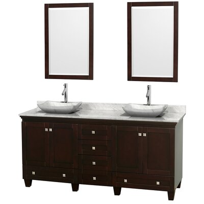 Acclaim 72 Double Espresso Bathroom Vanity Set with Mirror Top Finish: White Carrera Marble, Sink Finish: Avalon White Carrera Marble