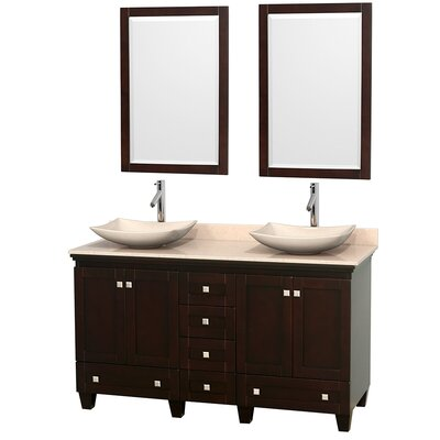 Acclaim 60 Double Espresso Bathroom Vanity Set with Mirror Top Finish: Ivory Marble, Sink Finish: Arista White Carrera Marble