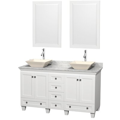 Acclaim 60 Double White Bathroom Vanity Set with Mirror Top Finish: White Carrera Marble, Sink Finish: Bone Porcelain