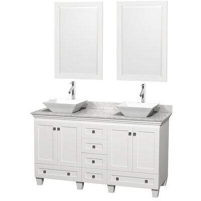 Acclaim 60 Double White Bathroom Vanity Set with Mirror Top Finish: White Carrera Marble, Sink Finish: White Porcelain