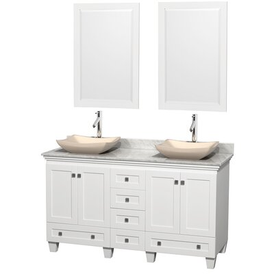 Acclaim 60 Double White Bathroom Vanity Set with Mirror Top Finish: White Carrera Marble, Sink Finish: Avalon Ivory Marble