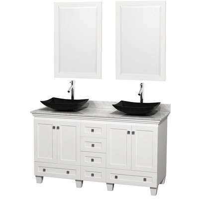 Acclaim 60 Double White Bathroom Vanity Set with Mirror Top Finish: White Carrera Marble, Sink Finish: Arista Black Granite