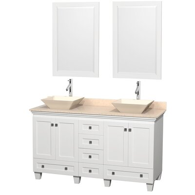 Acclaim 60 Double White Bathroom Vanity Set with Mirror Top Finish: Ivory Marble, Sink Finish: Bone Porcelain