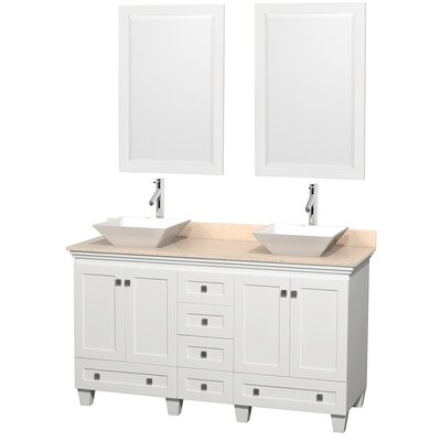Acclaim 60 Double White Bathroom Vanity Set with Mirror Top Finish: Ivory Marble, Sink Finish: White Porcelain