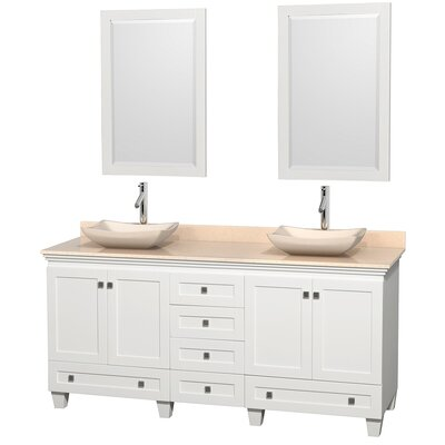 Acclaim 72 Double White Bathroom Vanity Set with Mirror Top Finish: Ivory Marble, Sink Finish: Avalon Ivory Marble