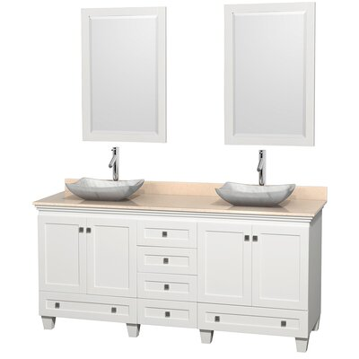 Acclaim 72 Double White Bathroom Vanity Set with Mirror Top Finish: Ivory Marble, Sink Finish: Avalon White Carrera Marble