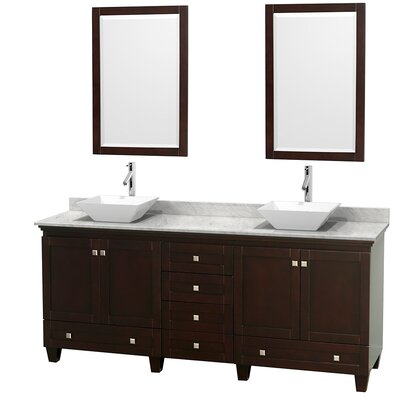 Acclaim 80 Double Espresso Bathroom Vanity Set with Mirror Top Finish: White Carrera Marble, Sink Finish: White Porcelain
