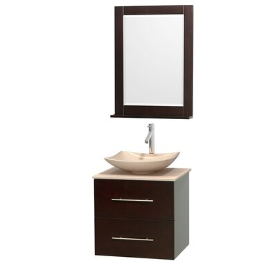 Centra 24 Single Espresso Bathroom Vanity Set with Mirror Top Finish: Ivory Marble, Sink Finish: Arista Ivory Marble