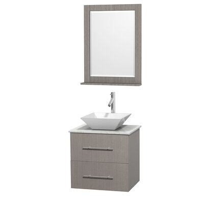 Centra 24 Single Gray Oak Bathroom Vanity Set with Mirror Top Finish: White Carrera Marble, Sink Finish: White Porcelain