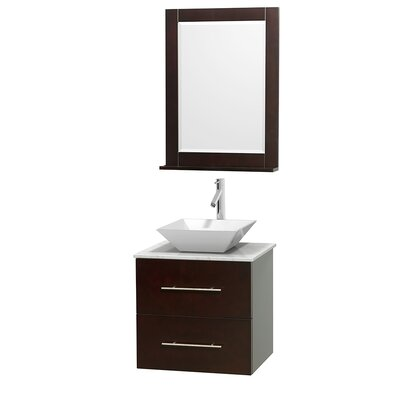 Centra 24 Single Espresso Bathroom Vanity Set with Mirror Top Finish: White Carrera Marble, Sink Finish: White Porcelain