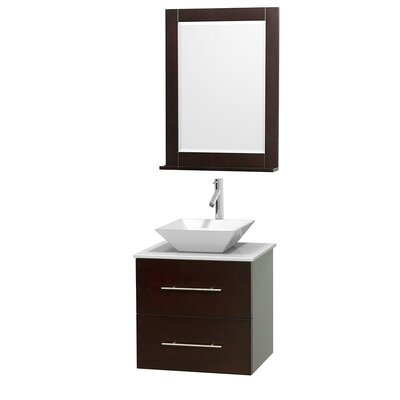 Centra 24 Single Espresso Bathroom Vanity Set with Mirror Top Finish: White Man-Made Stone, Sink Finish: White Porcelain
