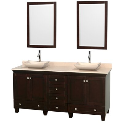 Acclaim 72 Double Espresso Bathroom Vanity Set with Mirror Top Finish: Ivory Marble, Sink Finish: Avalon Ivory Marble