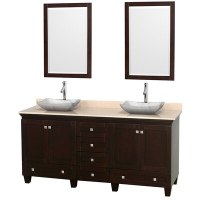 Acclaim 72 Double Espresso Bathroom Vanity Set with Mirror Top Finish: Ivory Marble, Sink Finish: Avalon White Carrera Marble