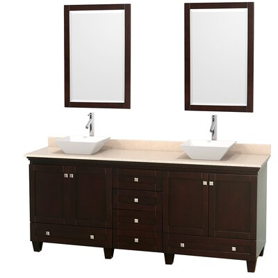 Acclaim 80 Double Espresso Bathroom Vanity Set with Mirror Sink Finish: Bone Porcelain, Top Finish: White Carrera Marble