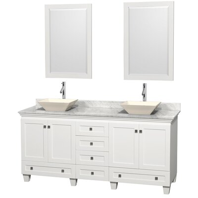 Acclaim 72 Double White Bathroom Vanity Set with Mirror Top Finish: White Carrera Marble, Sink Finish: Bone Porcelain