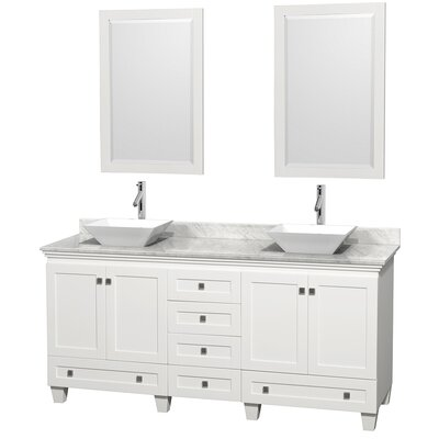 Acclaim 72 Double White Bathroom Vanity Set with Mirror Top Finish: White Carrera Marble, Sink Finish: White Porcelain