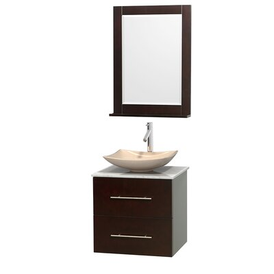 Centra 24 Single Espresso Bathroom Vanity Set with Mirror Top Finish: White Carrera Marble, Sink Finish: Arista Ivory Marble