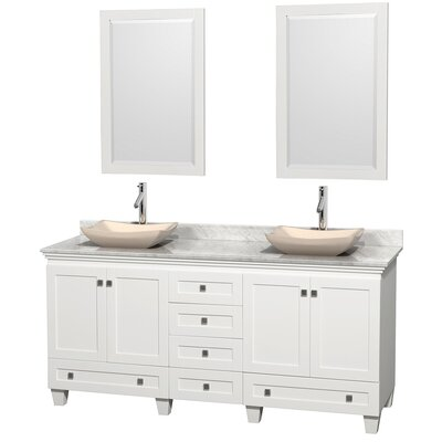Acclaim 72 Double White Bathroom Vanity Set with Mirror Top Finish: White Carrera Marble, Sink Finish: Avalon Ivory Marble