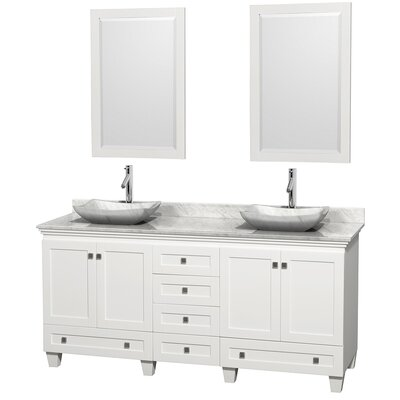 Acclaim 72 Double White Bathroom Vanity Set with Mirror Top Finish: White Carrera Marble, Sink Finish: Avalon White Carrera Marble
