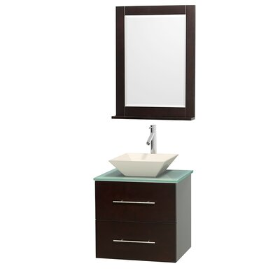 Centra 24 Single Espresso Bathroom Vanity Set with Mirror Top Finish: Green Glass, Sink Finish: Bone Porcelain