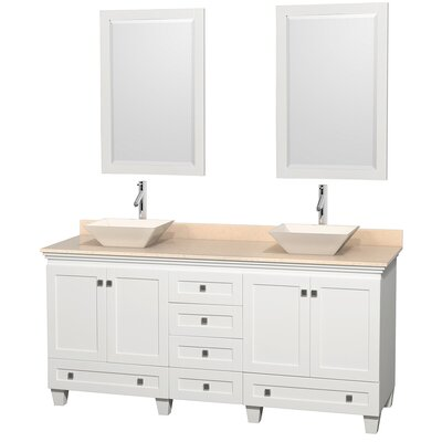 Acclaim 72 Double White Bathroom Vanity Set with Mirror Top Finish: White Carrera Marble, Sink Finish: Altair Black Granite