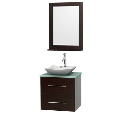 Centra 24 Single Espresso Bathroom Vanity Set with Mirror Top Finish: Green Glass, Sink Finish: Avalon White Carrera Marble
