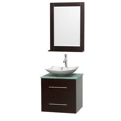 Centra 24 Single Espresso Bathroom Vanity Set with Mirror Sink Finish: Arista White Carrera Marble, Top Finish: Green Glass