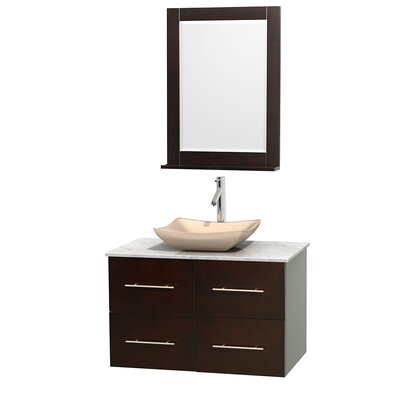 Centra 36 Single Espresso Bathroom Vanity Set with Mirror Top Finish: White Carrera Marble, Sink Finish: Avalon Ivory Marble