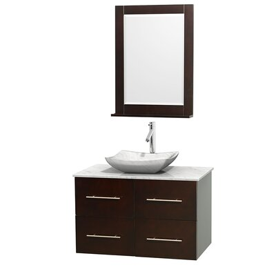 Centra 36 Single Espresso Bathroom Vanity Set with Mirror Top Finish: White Carrera Marble, Sink Finish: Avalon White Carrera Marble