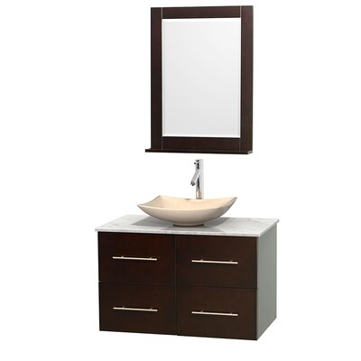 Centra 36 Single Espresso Bathroom Vanity Set with Mirror Top Finish: White Carrera Marble, Sink Finish: Arista Ivory Marble