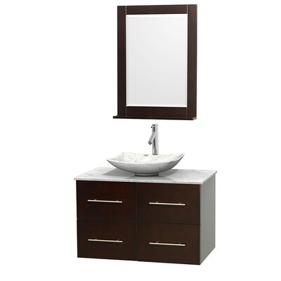 Centra 36 Single Espresso Bathroom Vanity Set with Mirror Top Finish: White Carrera Marble, Sink Finish: Arista White Carrera Marble